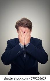 Stressed European businessman