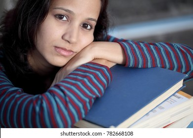 Stressed female student
