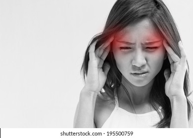 stressed girl headache; woman with migraine pain, stress, headache, insomnia, hangover; sick depressed woman suffering from headache pain, head pain, migraine, stress, depression; health care concept