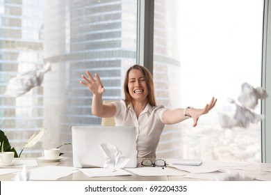 Stressed hysterical woman throwing crumpled paper, tired employee has nervous breakdown, businesswoman unable to solve problems, screaming in anger, bad day at work, suffering from negative emotions