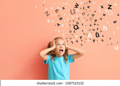 Stressed little girl and many letters on color background