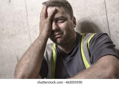stressed man. emotion portrait worker