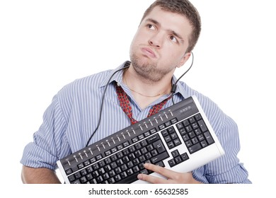 stressed man with a keyboard on his hands and the wire around his neck