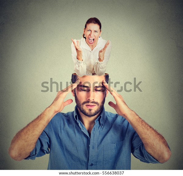 Stressed man with open head and young screaming woman inside brain isolated on gray background