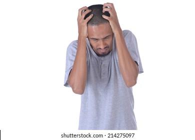 stressed man upset frustrated white background
