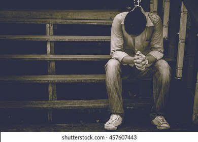 stressed man. vintage tone