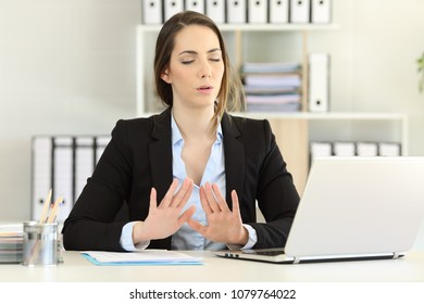 Stressed office worker trying to relax in a bad day