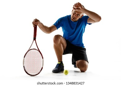 Stressed tennis player looking defeated and sad, he screaming in rage at court. Human emotions, defeat, crash, failure, loss concept. Athlete isolated on white