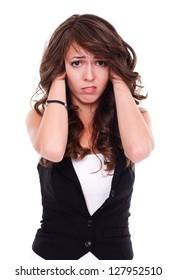 Stressed woman holding hair, studio shot