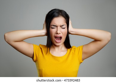 Stressed Woman Screaming in Anger
