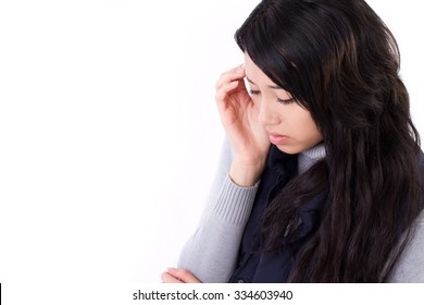 stressed woman suffering from headache, anxiety, migraine, hangover
