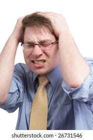 Stressed young businessman with headache on white