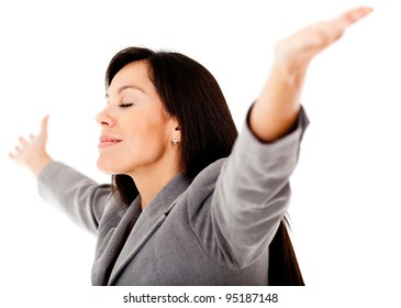 Stress-free business woman with arms open - isolated over a white background