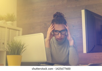 stressful female working on business project