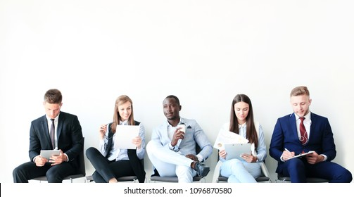 Stressful people waiting for job interview.