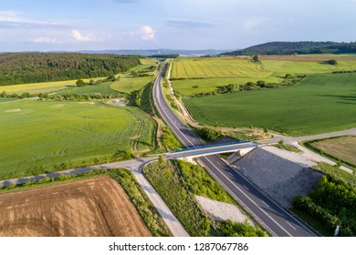 Stretch of the autobahn and rural lansdscape near Coburg in Germany