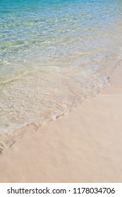 Stretch of Caribbean blue sea and white sand with copyspace