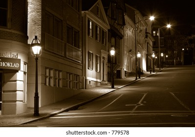 A stretch of historic 19th century New England style houses in Providence, RI, Usa.