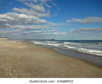 A stretch of sand and sea at Wrightsville Beach (just outside of Wilmington, North Carolina)