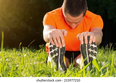 Stretching after jogging.