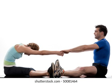 stretching workout posture by a couple a man and a woman on studio white background