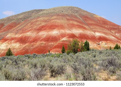 Striated red and brown paleosols in the Painted Hills of John Day Fossil Beds National Monument, Oregon