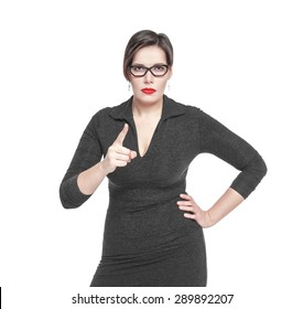Strict teacher woman threatens by finger isolated over white