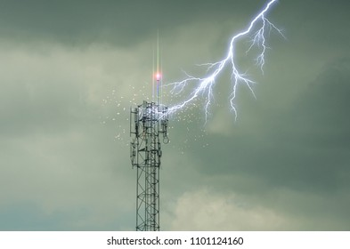 strike of lightning on Telecommunication TowerSelf Support, Guyed Tower, Guyed Mast, Pole. Telecommunication Tower. Cell Phone Signal Tower on sky background