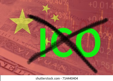 Strikethrough abbreviation ICO (Initial Coin Offering), with the financial data and Chinese flag visible in the background. 3D rendering.