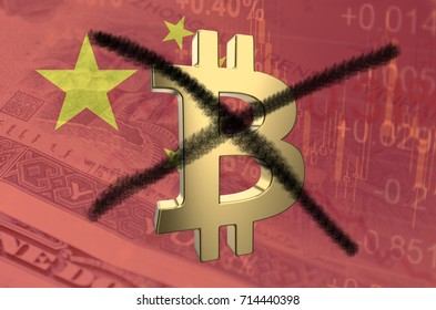 Strikethrough Bitcoin symbol, with the financial data and Chinese flag visible in the background. 3D rendering.