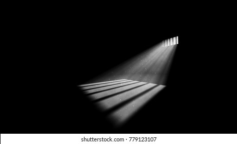 A striking 3d illustration of jail window light in a completely dark prison cell. The rays of sun look like a a beam of hope for freedom. They form wide stripes on jail floor.