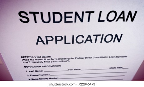 Striking 3d rendering of a student loan application put askew in the pink background on a computer screen. The headline is in big capital letters. Instruction, name, date of birth, are in lower case