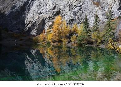 Striking autumn colours at Grassi Lakes - Alberta Canada