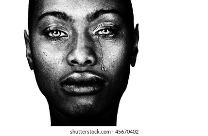 A Striking Image of a Afro American Woman Crying