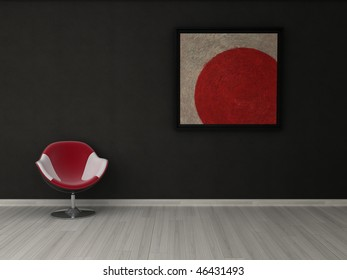 Striking minimalist interior visualisation featuring bold painting.