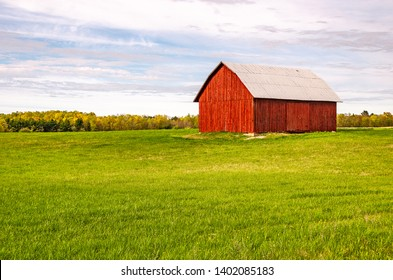 Striking red barn in a field of grass with a background of blue sky and clouds