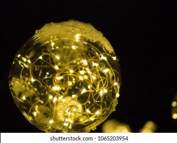 String ball lights at night