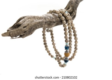 A string of Bodhi Bracelet in the white background