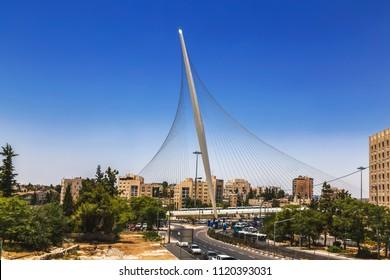 """String bridge"" in Jerusalem, Israel"