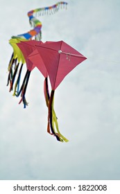 A string of colorful kites - shallow depth of field.