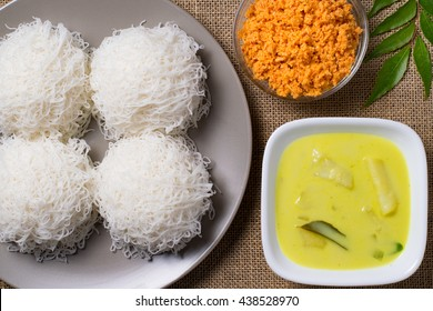 String Hoppers or indiappa with pol sambal and potato curry Sri Lankan food