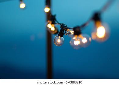 String Lights during sunset blue hour