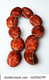 String of mini chorizo sausages, Costa del Sol, Malaga Province, Andalucia, Spain, Western Europe.