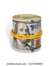 String roll bill bank 100$ US dollar isolated on white background. This has clipping path.