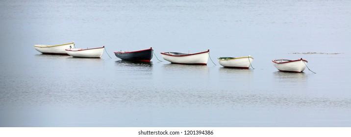 string of rowboats end to end, Fogo Island, Newfoundland, Canada