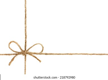 string or twine tied in a bow isolated on white background