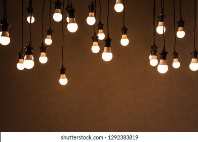 string wired bulbs on dark background