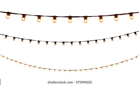 string wired bulbs on white background