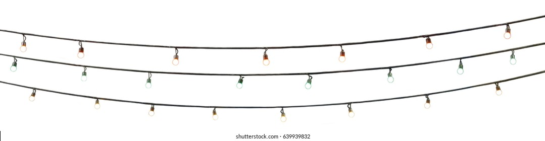 string wired multi colored bulbs on white background