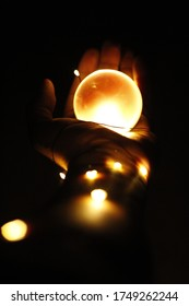 Stringlights with a Lensball and mirror